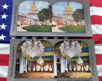 Vintage Stereoview Lot East Room White House President's Residence U.S. Capitol Building Washington DC
