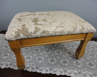 """Vintage  Foot Stool - Newly Recovered - 9-1/4"""" High - Neutral Fabric - Rectangular with Four Legs -"""
