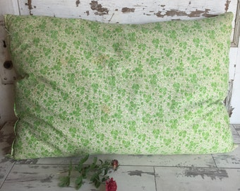 Vintage Down Pillow Feedsack Floursack Cover - Green Floral 1940s Full Size Pillow