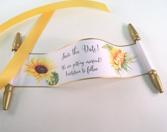 Save the date mini scrolls with sunflowers and gold accents, set of 12