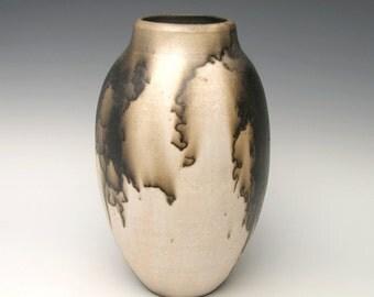 Raku horse hair pottery vase  black and off white 1a-4