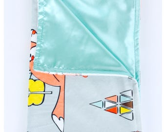 BABY BLANKET / Sleepy Fox on gray background minky print with soft silky satin /Great  baby shower  gift/ Gender neutral