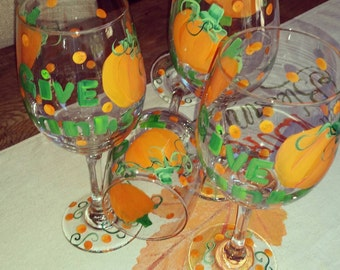 Pumpkin Give Thanks wine glasses