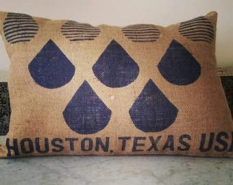 Coffee bean bag pillow in navy blue with a Houston, Texas USA motif