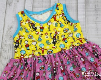 OOAK Custom Knit Seuss Dress - Thing 1 Thing 2 Knit Dress - Seuss Dress - Size 4T RTS
