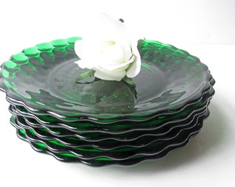 Vintage Bubble Anchor Hocking Green Dessert Plates Set of Six