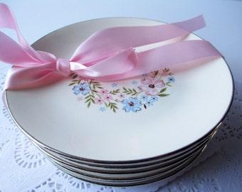 Vintage Dessert Plates Pink Blue Floral Set of Nine - Romantic