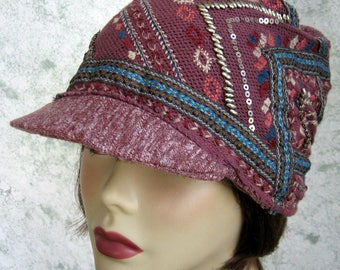 Womens Newsboy Hat Mauve Knit With Southwest Design Sequins Studding And Embroidery Trim Chemo Hair Loss Teen Brimmed Cap Head Sz 21- 23