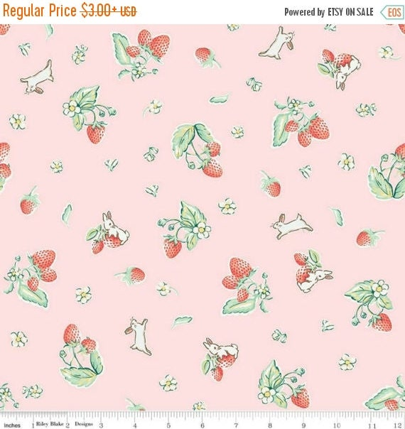 """ON SALE Penny Rose Fabrics """"Bunnies and Cream"""" Pink Strawberry"""
