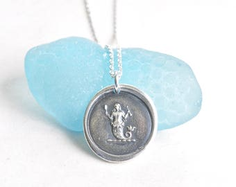 mermaid wax seal necklace ... eloquence, enchantment, mystery - silver antique wax seal jewelry