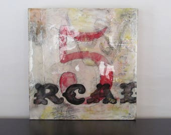 No5 - mixed media on wooden cigar box top, ready to hang