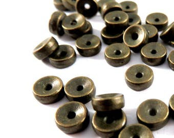25 Flat Spacer Bead Antique Bronze Double Sided 5mm Tibetan Style LF/NF - 25 pc - M7036-AB25