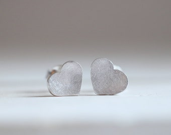 Amour mini earrings. Sterling silver small heart earrings. Love earrings, love studs, silver heart studs, tiny heart earrings.