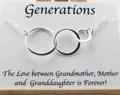 Generation Necklace Grandmother Necklace Gift 3 Generation Jewelry Family Necklace 3 Circle Necklace Future Grandma Grandchild Sterling