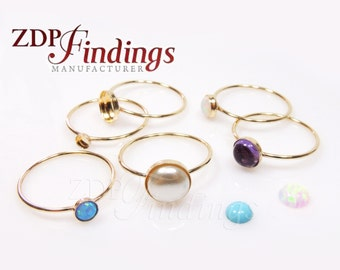 1pc x 14k Gold Filled delicate Skinny Stacking Bezel cup Ring fit Round Cabochon Gemstone, Choose Your Size (XRRDXGF)