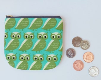 Green Owls Coin Pouch, Retro Owl Zip Pouch, Curved Zip Purse