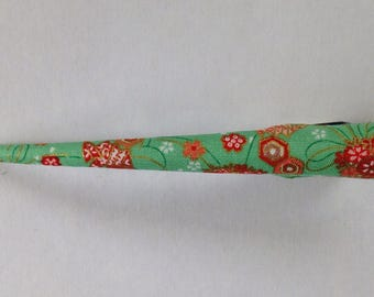 Large Hair Clip - Japanese Fabric Covered, Japanese Accessory, Flower, Light Green, Kawaii, Metal Concord Clip, Kimono Beak Clip, Handmade