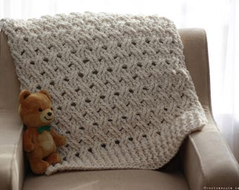 CROCHET PATTERN - Chunky Baby Blanket - Instant Download (PDF)