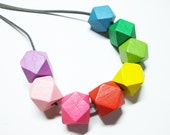 Rainbow Necklace, Geometric Necklace, Long Necklace, Hexagon Necklace, Colourful Jewellery, Rainbow Jewellery, Rainbow Gift