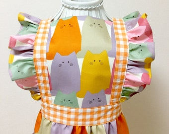 Apron / Lolita Apron / Dress Apron - Colorful Cat