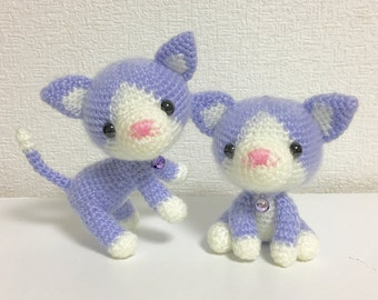 The Twin Cat / Amigurumi Cat / Crocheted Cat --- A Set of 2 - Lavender