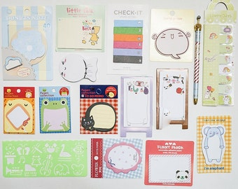 Grab bag set A. Sticky memo notes, stickers, bookmark, planner goodies.