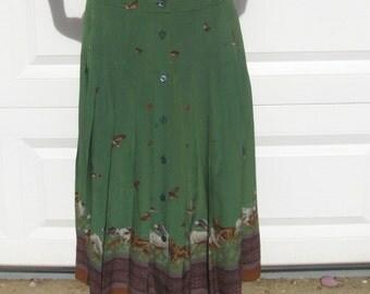 hunting scene skirt . dog skirt . hunting dogs . silk skirt . hunting skirt . pleated silk skirt . made in Spain . countryside skirt . SALE