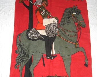 "Irish linen Dish Towel . London dish towel ""Mounted Guradsman by Ulster"" . Horse linen dish towel . 70s London souvenir dish towel"