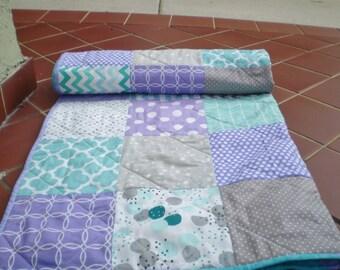 Baby Quilt, Teal,Grey, Purple, Aqua, patchwork Crib Quilt, Handmade Baby Girl Bedding Quilt, Chevron Quilt, lavender, toddler,Purple Passion