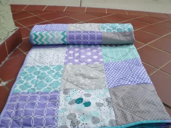 Baby Quilt Tealgrey Purple Aqua Patchwork Crib Quilt