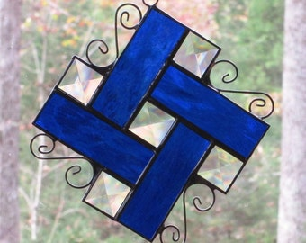 Stained Glass Suncatcher - Bevels with Cobalt Blue Border and Curly Cue Wire