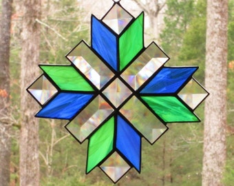 Stained Glass Suncatcher - Cross, Quilt Pattern in Blue and Green Wispy Glass with Clear Bevels