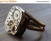 HAPPY HOLIDAYS SALE - Steampunk Ring -  Antique Vintage Watch Movement (Custom size available - see description)