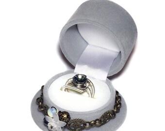 SALE 25% OFF - Limited Edition - Grey Steampunk Top Hat Single Ring Box and Black Diamond Swarovski Crystal Ring