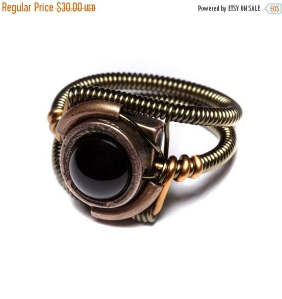 CYBER WEEK SALE - Steampunk Jewelry - Ring - Black Onyx