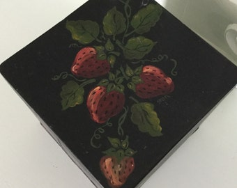 Hand Painted Tin Box Black with Strawberries