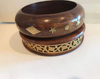 Pair of Wood and Brass Bangles
