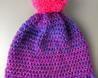 Purple Gradient Slouchy crochet knit Pompom Beanie Toque Hat