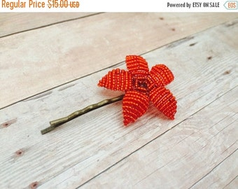 INVENTORY CLEARANCE Flower Bobby Pin - Fire Engine Red Flower - Ododo Originals