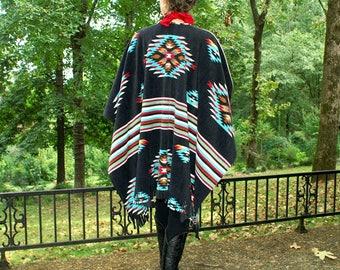 Southwestern Apache Black Anti Pill Fleece Shawl, Serape, Poncho, Blanket Scarf, or Wrap with Fringe--Boho and Fun--One Size Fits Most