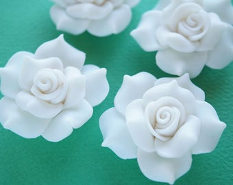 2 pcs Huge Polymer Clay Rose Cabochon (40mm) White FL326
