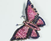 Art Deco Hand Made 1920s Beaded Butterfly Brooch Pink & Navy,Butterfly Accessory Ideal Gift Her, Mothers Day Gift,Spring SummerJewellery