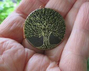 Mini Rustic Engraved Tree of life Locket original artwork necklace