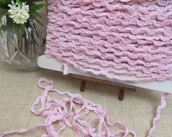 """BTY Made in Switzerland UNUSUAL Vintage PINK Fabric Trim 3/8"""" Wide Clothing Crafts Sewing Prom Baby Childrens Bridal Millinery"""