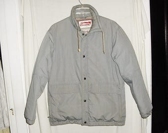 Vintage 80s Gray Mens Down Coat L Coleman