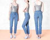 90S HIGH WAIST SKINNY jeans MoM denim vintage Pants medium wash Excellent condition / Waist 26 27 / Size 4 / better Stay together