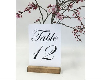 Table Number Holder + Rustic Wedding + Rustic Wood Table Number Holders (5inch) Set of 10