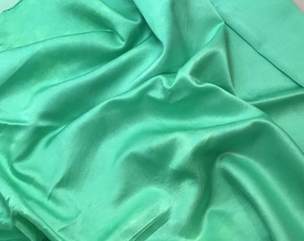 Hand Dyed Spearmint Green - Silk and Cotton Blend SATIN Fabric - 1 Yard