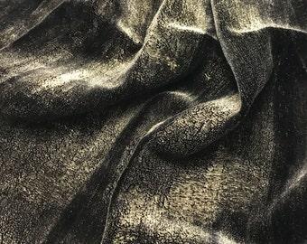 Hand Painted Silk Velvet Fabric - Metallic Gold on Black - 1 Yard