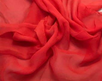 Silk Gauze Chiffon - Hand Dyed Blood Orange - 1 Yard